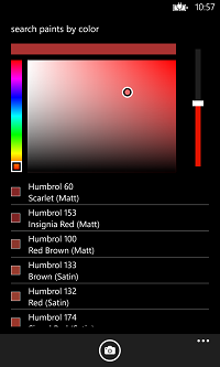 Windows Phone 8 screenshot of the color match page