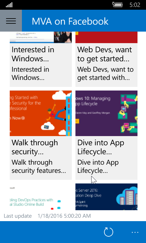 Windows Phone 10 screenshot of the Facebook page