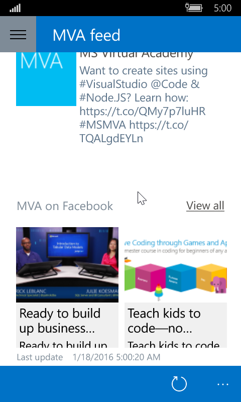 Windows Phone 10 screenshot of the main page