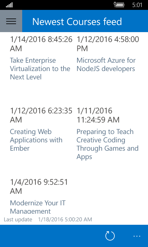 Windows Phone 10 screenshot of the New Courses page